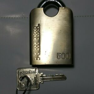Federal 500 High Security Padlock Medeco Core 1 key, Brass Body W/Shackle Guard
