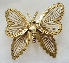 Vtg MONET BUTTERFLY Pin Brooch Gold Tone Insect Figural Signed Wire Wrap 2 Inch