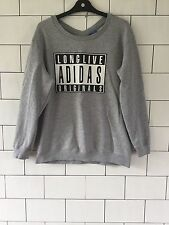 WOMENS URBAN VINTAGE RETRO GREY ADIDAS ORIGINALS SWEATSHIRT SWEATER SIZE UK 16