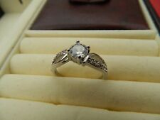 Designer ring split band large stone 18kt white gold filled sizes S+K