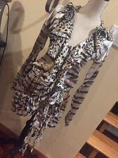 Just Cavalli Animal Print Silk Foldover Ruffle Mini Dress W/ Long Tie 6