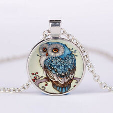 Free shipping Owl Cabochon Tibetan silver Glass Chain Unisex Pendant Necklace