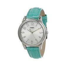 Timex T2P126 Womens Blue Croco Patterned Leather Strap Watch