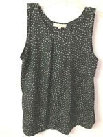 Ann Taylor Loft Polka Dot Sleeveless Black White Blouse Top Size Petite Large LP