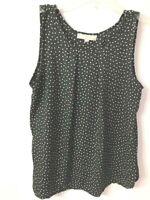 Ann Taylor Loft Polka Dot Sleeveless Black White Blouse Top Size Petite Large LP
