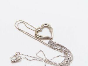 10K White Gold Diamond Accent Heart Necklace
