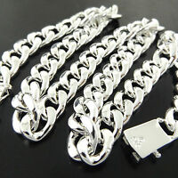 FSA823 GENUINE REAL 925 STERLING SILVER S/F SOLID MENS CURB CUBAN NECKLACE CHAIN