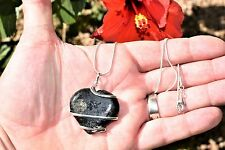 "CHARGED Wire Wrapped Nuummite Heart Pendant REIKI ENERGY + 20"" Silver Chain"
