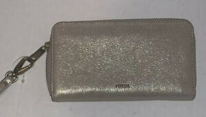 Fossil Large Clutch RFID Wallet Wristlet EMMA Leather Metallic Taupe/Gold NWT