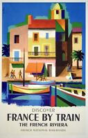 """Vintage Illustrated Travel Poster CANVAS PRINT Discover France Riviera 24""""X16"""""""