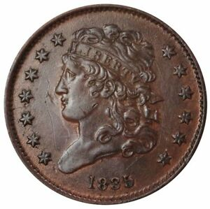 1835 UNITED STATES HALF CENT CLASSIC HEAD COIN CONDITION ABOUT UNCIRCULATED RB