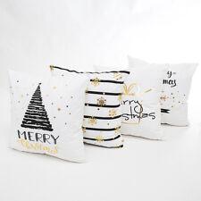 Merry Christmas Gold Foil Printing Pillow Case Sofa Waist Throw Cushion Cover AU