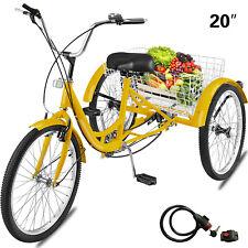 Adult Tricycle 20'' 1-Speed 3 Wheel Yellow Trike Bike Shopping W/ Lock Bike
