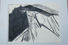 Print Brutalist Style Artist Proof Lake Nemi Italy Signed Woodblock c.1900's
