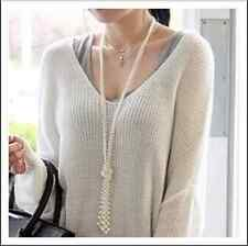 High Quality Fashion White Pearl Double Rows Sweater Long Necklace