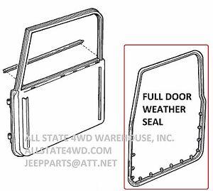 Full Door Weatherstrip Rubber Seal Set of 2 - 1 PAIR for 97-06 Jeep Wrangler TJ