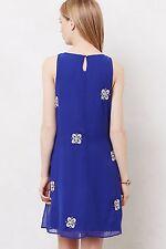 £138 NWT ANTHROPOLOGIE LEIFSDOTTIR ETHNIC BLUE WHITE SEQUIN SHIFT DRESS 10 6 38