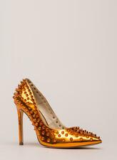 Liliana Shayla-92 Orange Spike Pumps Stiletto Heel Size 8 NIB Metallic
