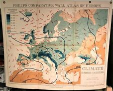 Original 1921 Philips' Comparative WALL Atlas ~ EUROPE SUMMER CLIMATE Map ~ Rare