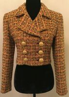 Vintage Cache Womens Double Breasted Crop Blazer Size 4 Gold Tweed Wool Blend