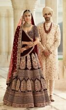 Gorgeous Wedding Wear Heavy Embroidery Work Maroon Velvet Lehenga Choli AF-694