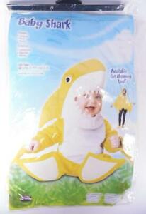 Fun World Baby Shark Costume Yellow Jumpsuit with Hood & Booties XL 3T-4T/X