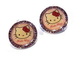 Bijou enfant Sanrio Hello Kitty boucles d'oreilles rose avec strass