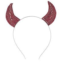 Lux Accessories Halloween Festive Red Rhinestone Bling Devil Horn Ears Headband