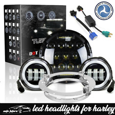 """7"""" BLK LED Projector Headlight + Passing Lights For Harley Davidson Touring"""