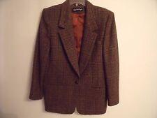 Vintage Giorgio Sant'Angelo Brown Plaid Blazer Sport Coat Suit Jacket Sz10 Wool