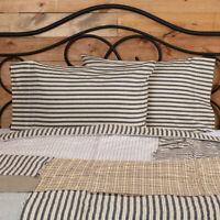 ASHMONT Ticking Stripe Pillow Case Set Rustic Farmhouse Grey/White VHC Brands
