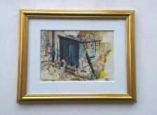 Pintura Original Acuarela Fred Williams pequeño Harold's cobertizo Yorkshire