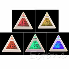 7 Color Change Triangle Pyramid Clock Time LED Alarm Digital LCD Thermometer