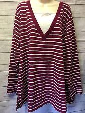 NWT! Jason Maxwell Plus Sz 3X Women's Striped 2Fer Duet Long Sleeve Knit Top
