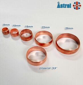 Copper Compression Olives 8mm 10mm 15mm 22mm 28mm & 3/4 (imperial)
