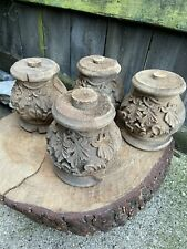 More details for antique set of french carved architectural finials church chateau wood fragment