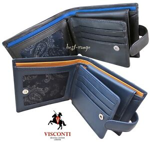 Mens Wallet RFID Soft Real Leather Luxury Quality Visconti New in Gift Box PM102