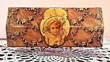 """Victorian Celluloid Glove Box Young Lady Wearing Blue Hat Medallion 9 5/8"""" L"""