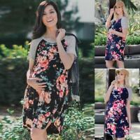 Women's Casual Loose Floral Summer Casual Maternity Pregnancy Clothes Mini Dress