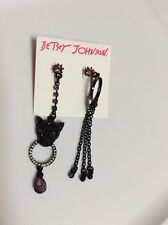 Betsey Johnson Black-Tone Panther Ring Mismatch Earrings $40 BP-12