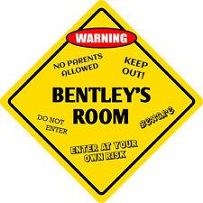 """*Aluminum* Bentley's Room Kids Room Door 12""""x12""""  Metal Novelty Sign"""