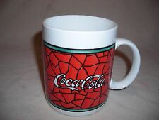 COCA-COCA  Stained Glass Coffee Mug 1996 Gibson Soda COCA COLA advertising