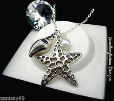 Beautiful Silver Extra Large Star Conch Shell Pearl Statement Necklace 60cm
