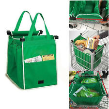 Reusable Grocery Grab Shopping Bags Eco Foldable Trolley Tote Bag Clip To Cart
