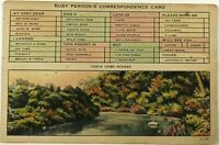 Vintage Postcard Busy Persons Correspondence Card Check Box Flowers Greeting