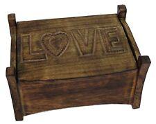 WOODEN 'LOVE' JEWELLERY TRINKET BOX 26CM x 19.5CM HAND CARVED SOLID MANGO WOOD