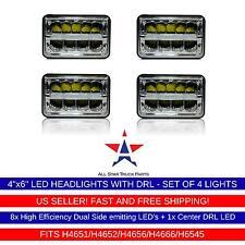 "4X6"" LED DRL Headlights CREE Light Bulbs Sealed Beam Headlamp Set of 4 Truck"