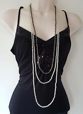 "Gorgeous BoHo style 48"" long hematite & clear bead 3 strand - layered necklace"