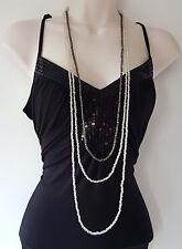"""Splendido stile Boho lungo 48"""" Ematite & Clear Perline 3 Filo-Collana A Strati"""