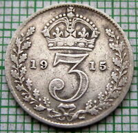 GREAT BRITAIN GEORGE V 1915 THREEPENCE 3 PENCE, SILVER